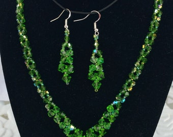 Crystal V necklace and earrings set