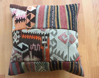 Hand made patchwork pillow multi color  38 X 38 cm