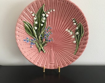 Vintage Marie-Louise pink fine Ceramics hand painted plate, made in germany. Lilly of the Valley, Home decor. Country chic