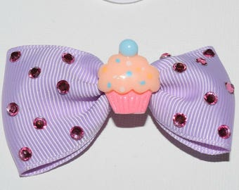 Small Cupcake hair bow clip