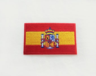 1x SPANISH spain flag patch - Iron On Embroidered Applique logo red yellow stripes symbol patriotic Espana crown