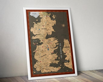 Westeros Map / Map of Essos / Jon Snow / Game of Thrones, Game of Thrones Map / Wall Art /