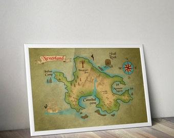 Peter Pan Neverland Map / Very Large Print / Peter Pan Nursery / Neverland Map / Map of Neverland / Peter Pan / Peter pan nursery