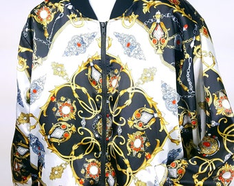 90s 80s Track Suit Bling Gems Gold Chain Hip Hop Fresh Prince Street Wear Bomber Jacket