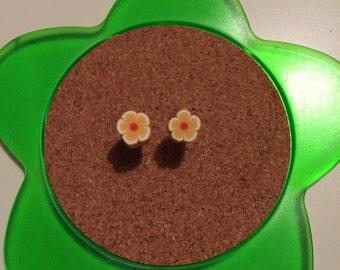 Handmade yellow and white flower stud earrings