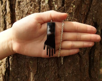 "Black Laser Cut Acrylic Hand Necklace 20"" Silver Chain"