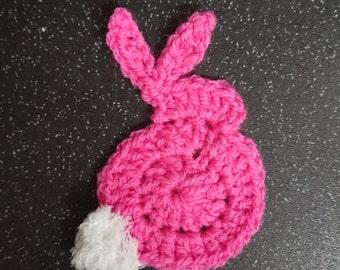 Crochet rabbit applique pink