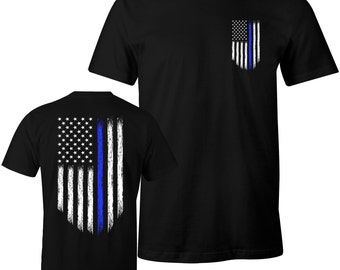 Thin Blue Line Shirt Police USA Flag Shirt Police Lives Matter Men's T-Shirt