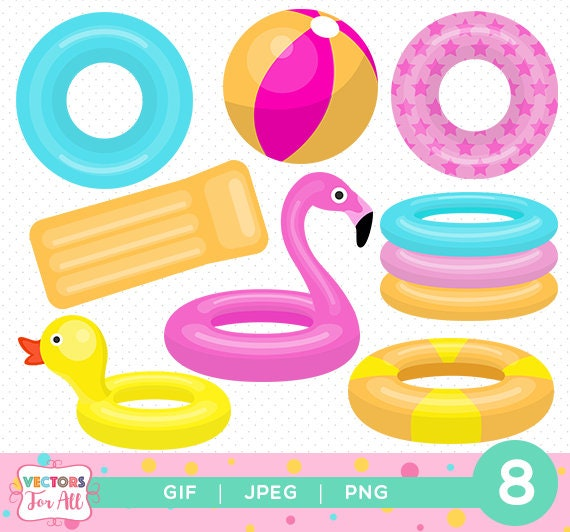 items similar to pool toys cliparts pool toys cliparts