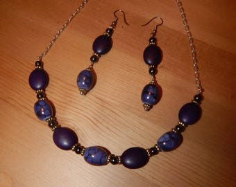 Purple stone and ceramic bead necklace and earring set