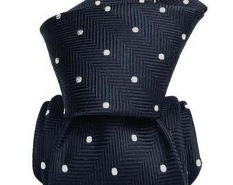 Navy Polka Dot Tie, Navy Silk Tie, Italian Tie