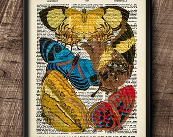 Butterflies · Instant Download · Dictionary · Colorful · Vintage · Wall · Printable · Digital File #100