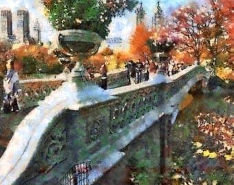 Digital Art Print Bow Bridge, Central Park Artwork, New York Wall Art, Autumn Colors Decor