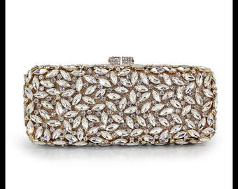 Glamorous gold evening clutch bag with high quality Crystals
