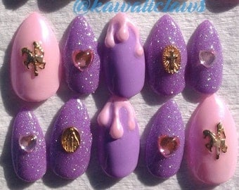 Purple Glitter Pink Drippy Gold Charms Gel Nail Art Press on false fake nails