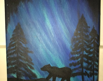 Midnight Bear Canvas Painting