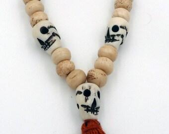 Pearls bracelet mala Tibetan yak skull bone