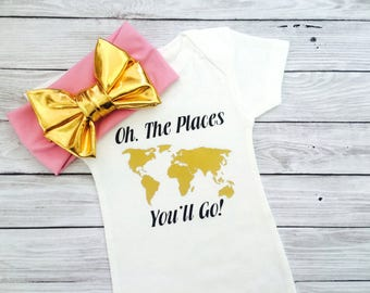 Unique Baby Girl Gift, Baby Girl Bodysuit, Baby Clothes, Oh The Places You'll Go, Baby Girl Clothes, Baby Shower Gift, Baby Bodysuit