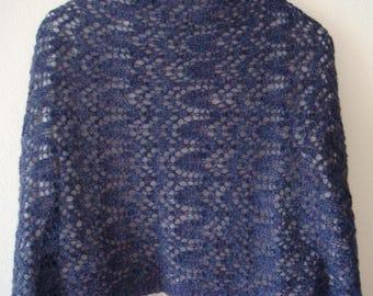 Blue purple lace shawl,  hand knitted lace shawl, lace stole