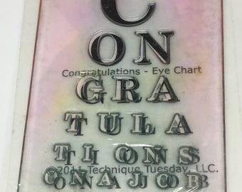 Congratulations Eye Chart Stamp - Scrapbooking - Card Making Supplies