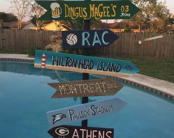 Graduation sign pole, Vacation sign pole, Cruise port sign pole, Destination pole, Directional pole, Custom signs, Mile marker sign