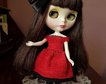 Romantic, Off-the-Shoulder Knit Party Dress for Blythe