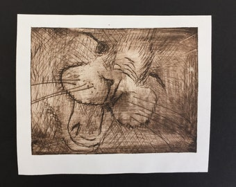 Handmade drypoint print of a students cat