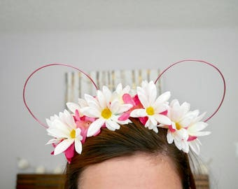 Pink Daisy Wire Minnie Ears | Mickey Ears