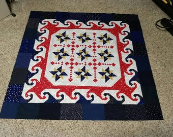 Red white and blue table topper quilt top