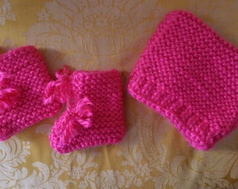 Infant Pink Hat and Booties