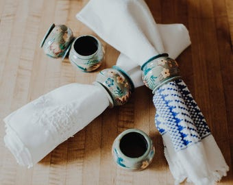 Wooden Spanish style teal napkin rings