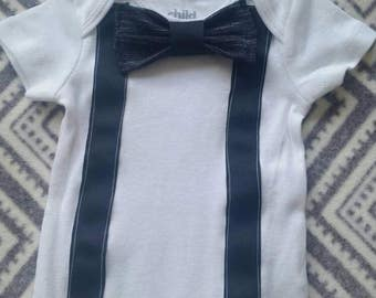 Baby boy onsie with bow tie and suspenders
