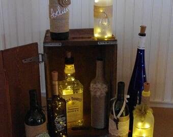 LED Lit Wine Bottles / Frosted Lit Bottles / Twine Wrapped Bottles / Embellished Wine Bottles
