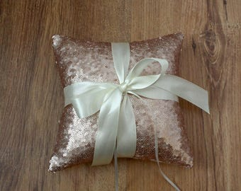 Rose gold sequin ring pillow