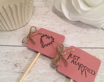 Handmade Just Married & Heart Cupcake Flags