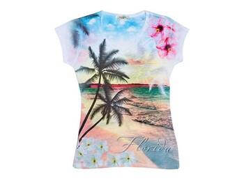 Florida, Florida State,Scenic Florida T-shirt,Beach Tee, Women's Tee,Women's T-shirt, Palm Trees and Sunset,Tropical V-neck,Scenic Beach Tee