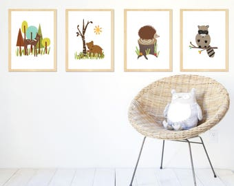 Forest Animal Collection Set of Four 8x10 Prints, Childrens Wall Art, Kids Room, Gender Neutral Nursery Decor, Nature Themed