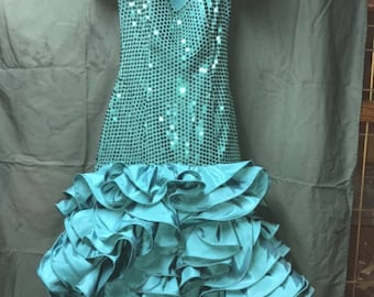 Blue/Green Sequin Prom Dress