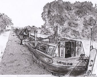 Signed Print - Waiting at Foxton - Old fashioned black & white print 20x25cm Working Narrowboat - Ready to Frame