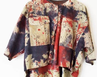 Stained leather A line top with three quarter length sleeves