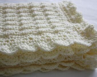 Crochet Baby Blanket / Afghan Handmade Crochet Ivory Baby Blanket Baby Shower Gift Baby Girl  Baby Boy Blanket Newborn
