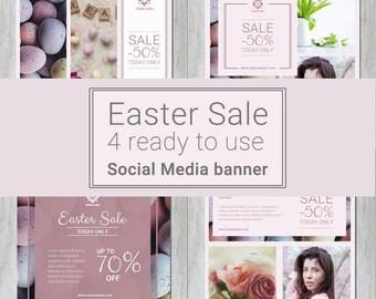 EASTER Social Media Templates for instagram, facebook - mini pack - Sale banner templates