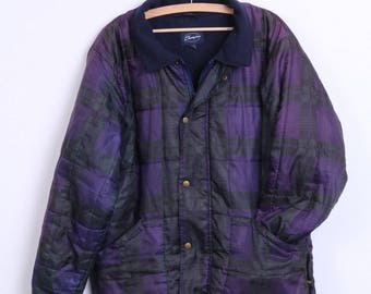 "Champion Womens M 40"" Jacket Check Purple Vintage"