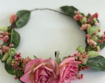 Flower Crown, handmade silk flowers
