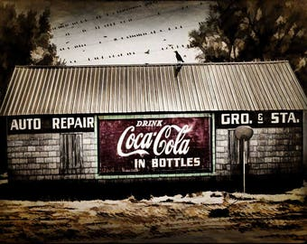Wall Art-Coca Cola Building-Old Auto Repair-Grocery Gas Station-Crows Gathering-Digital Download-Printable Art-by Art Bar 970
