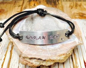 Motivational/Inspiring Adjustable Leather Bracelet - Dream Big