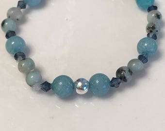 Aquamarine & kiwi jasper - calms and soothes- supports in times of stress, keeps negative energy away