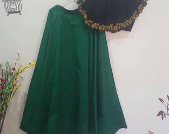 Green lehahga and black crop top