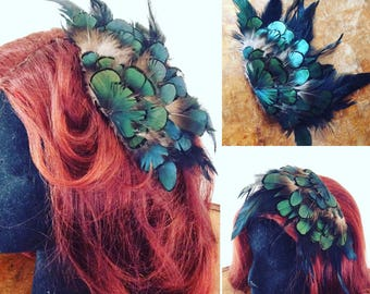 Handmade teal feather fascinator clip festival boho