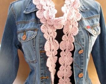 Crochet long scarf, Lariat scarf, Crochet lariat scarf, Butterfly scarf, Crochet butterfly, Pink scarf, Long scarf, Crochet skinny scarf